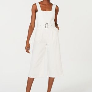 Line & Dot White Victory Belted Cropped Jumpsuit